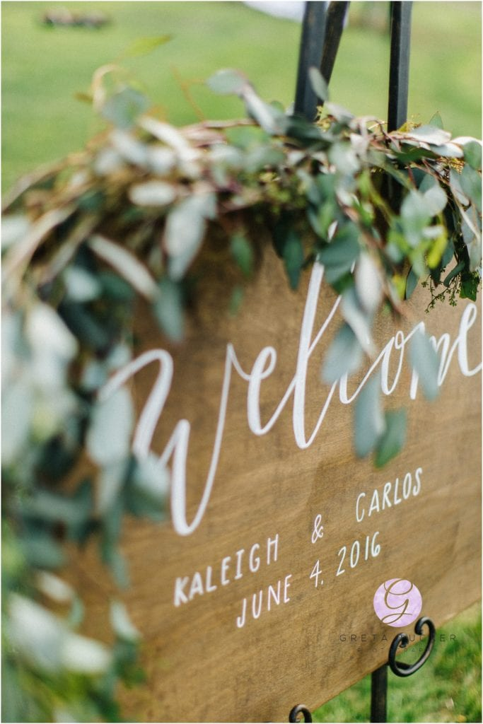 wedding welcome wood sign with florals
