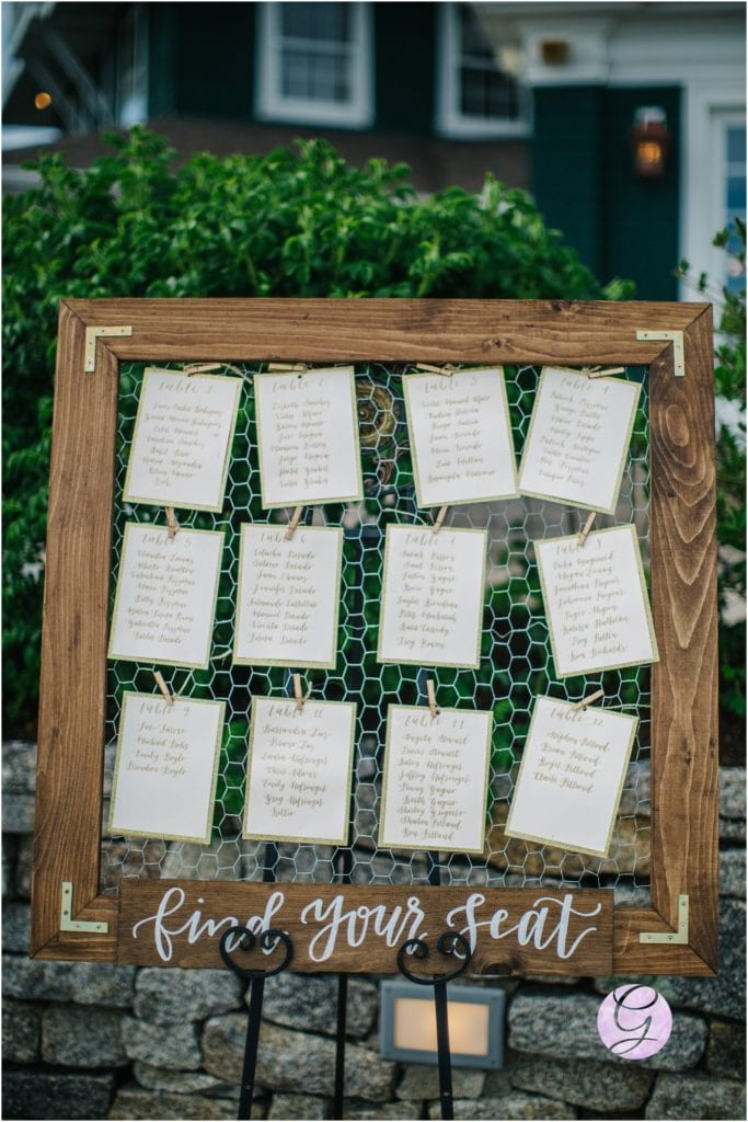 calligraphy table seating chart