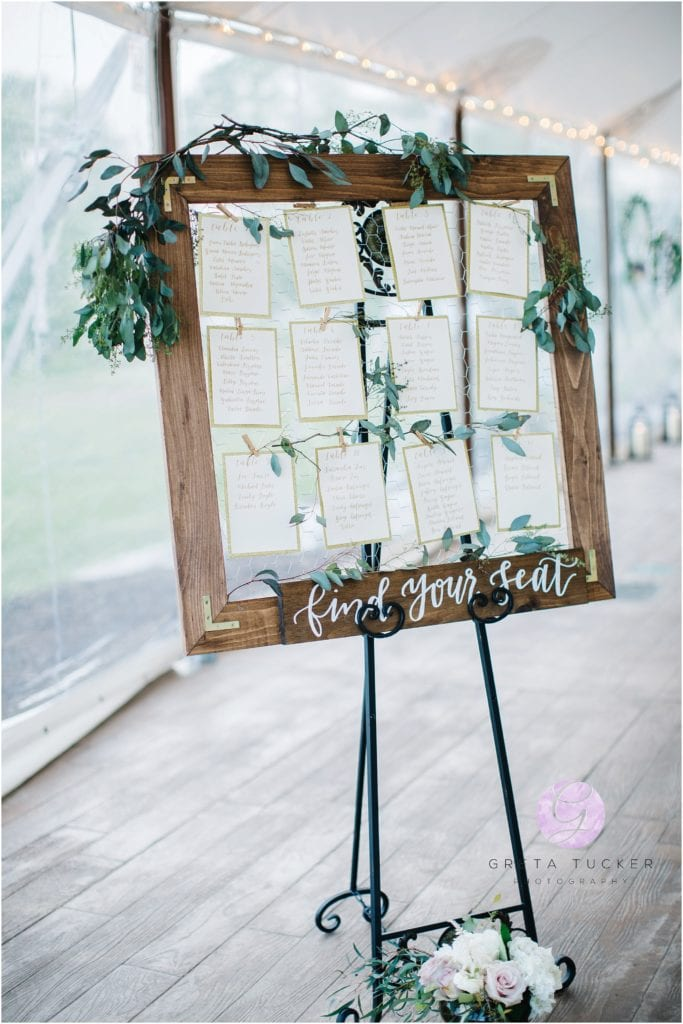 wedding calligraphy seating chart