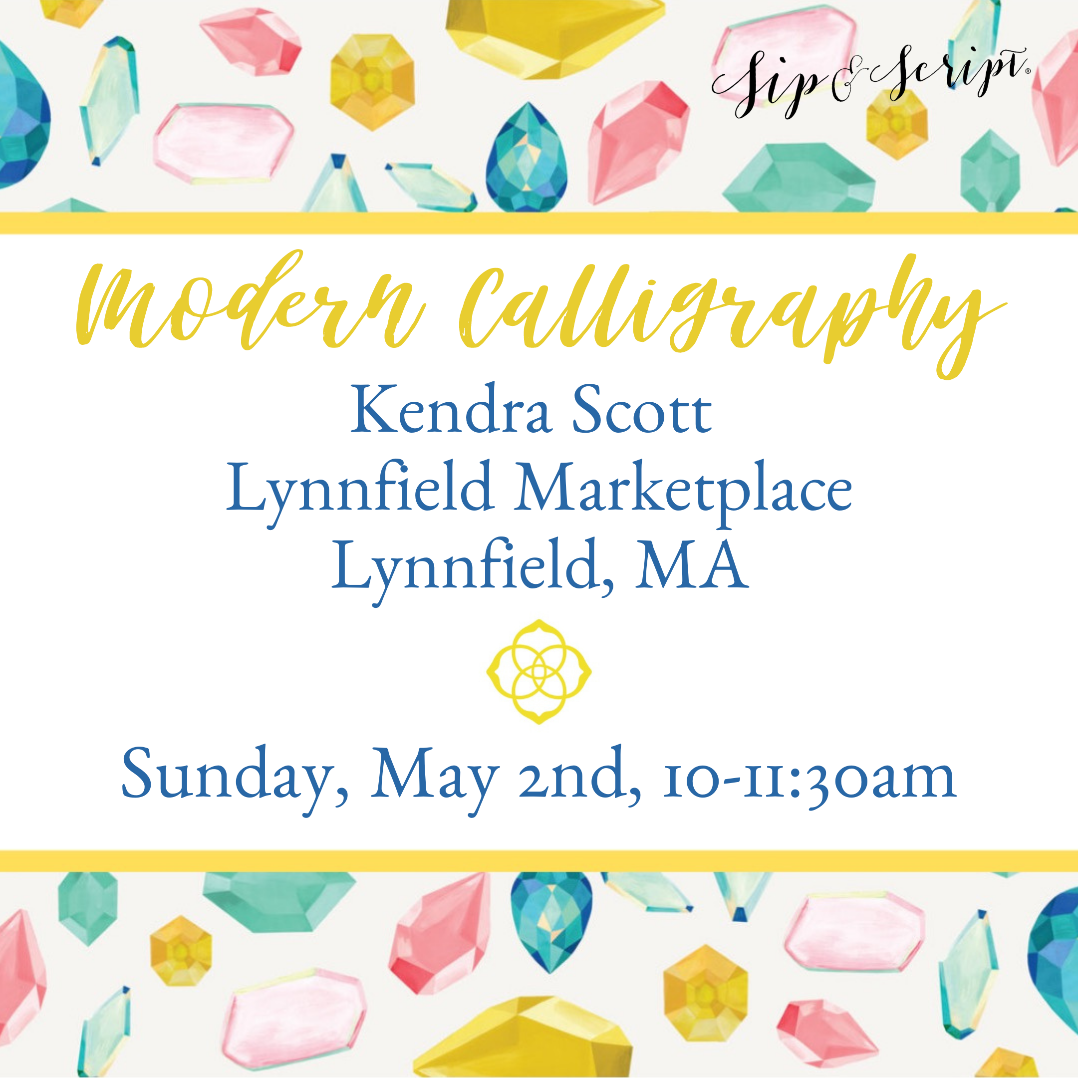 calligraphy class boston Kendra Scott