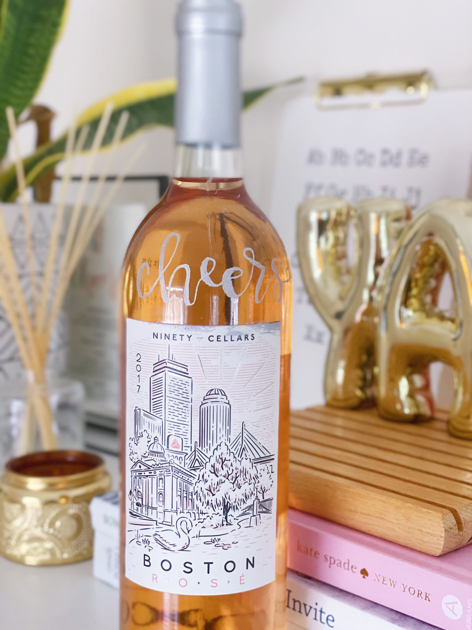 calligraphy engraved wine bottle