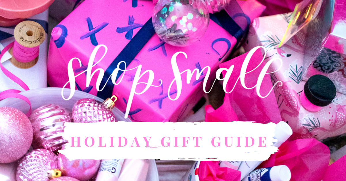 "pink Christmas gifts calligraphy writing ""shop small holiday gift guide"""