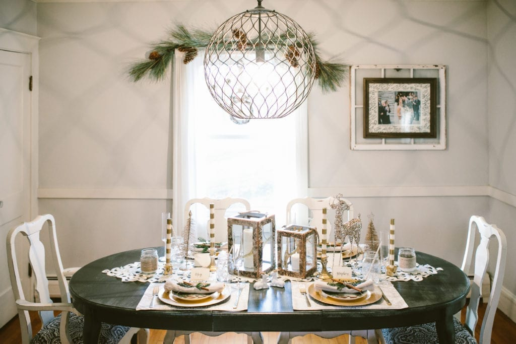 christmas house tour holiday dining room with rustic decor