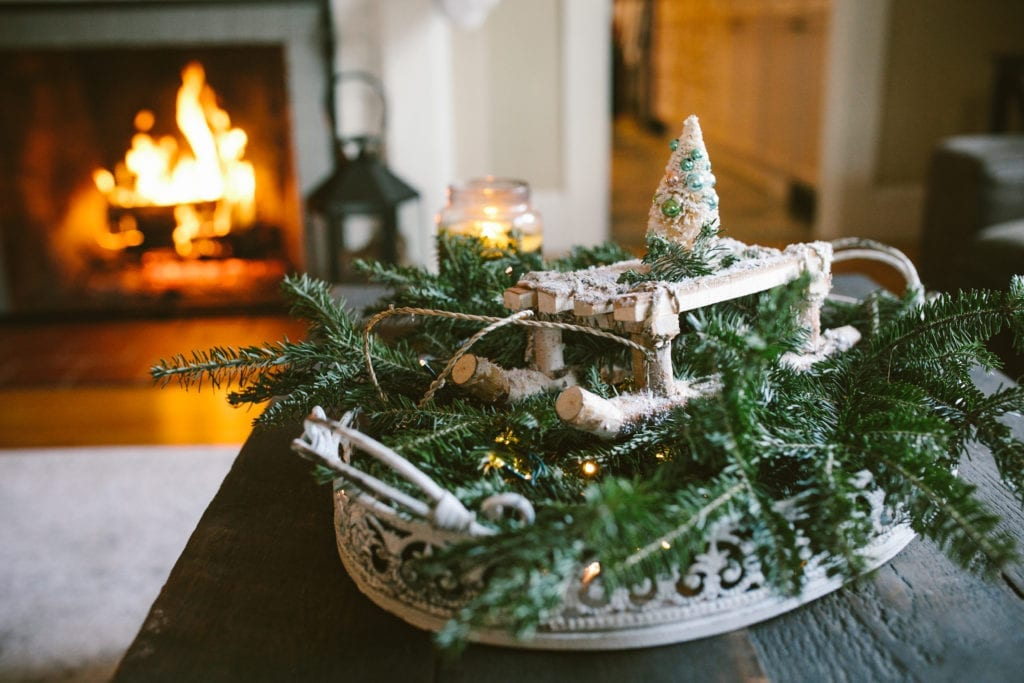 rustic fixer upper style christmas decor with real fireplace