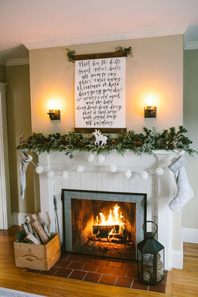 hand lettered scroll fireplace christmas mantle decor rustic