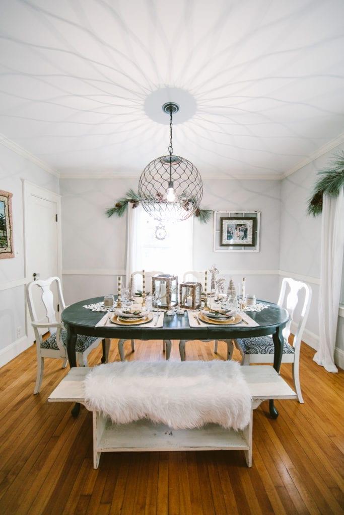 rustic christmas decor dining room