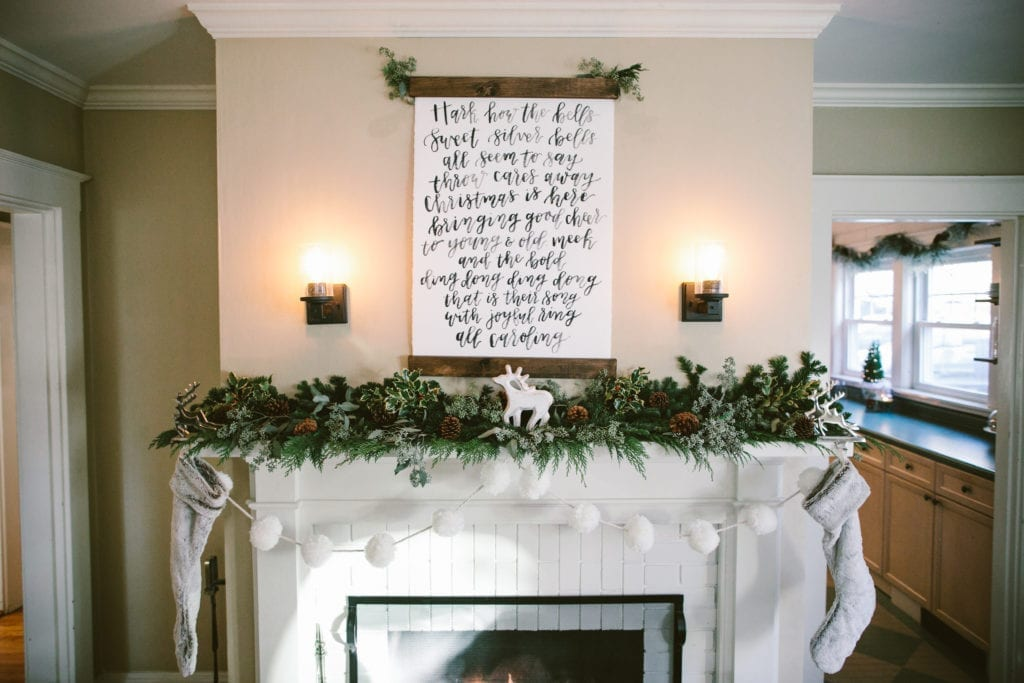 fireplace hand lettered scroll christmas decor mantle