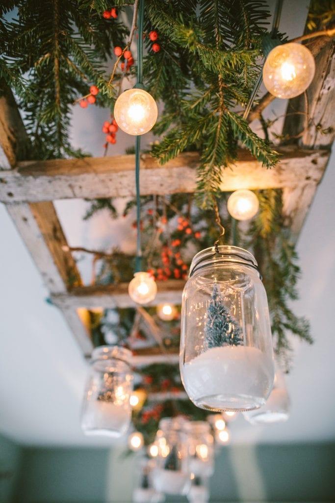 rustic ladder home decor christmas snow globe