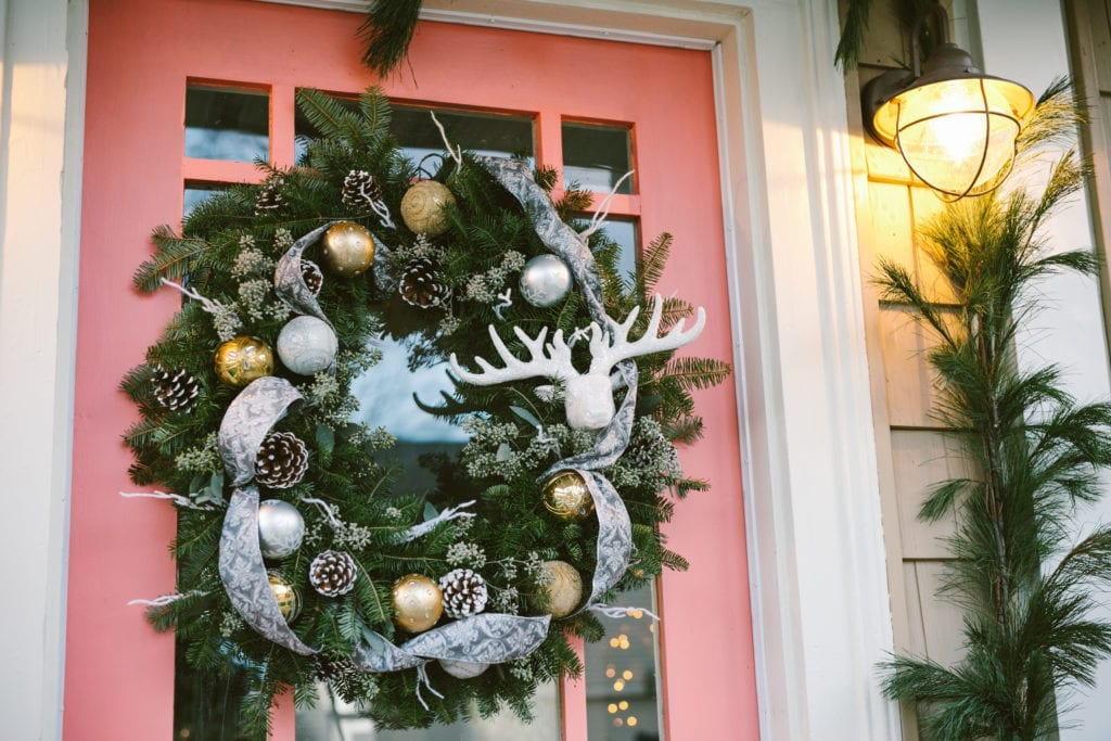 pink door christmas wreath christmas outdoor decor with live garland