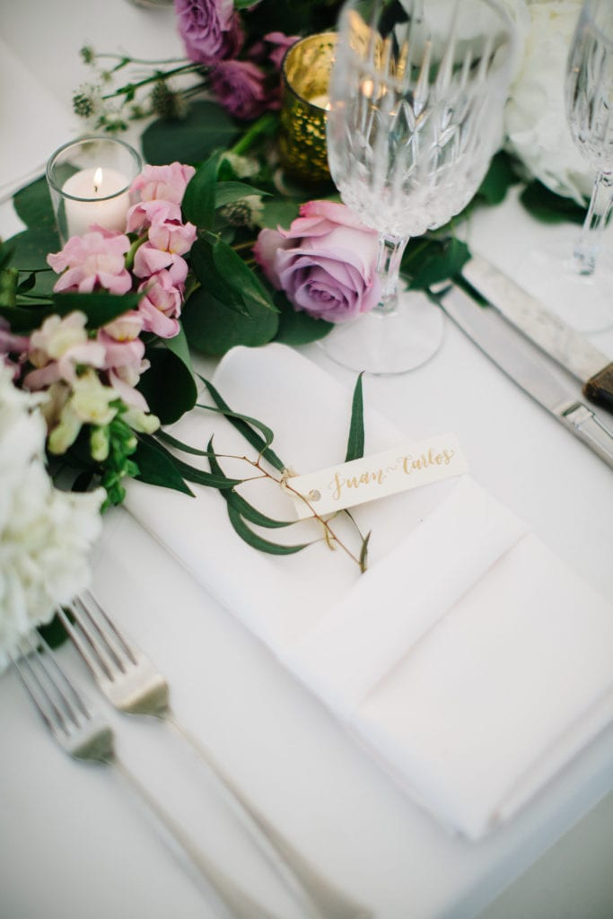 wedding calligraphy place card setting