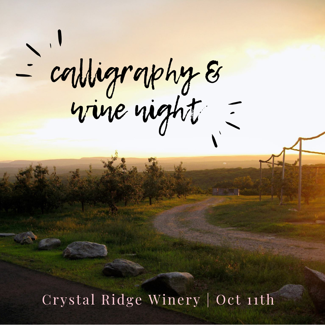 Connecticut calligraphy workshop Crystal Ridge Winery