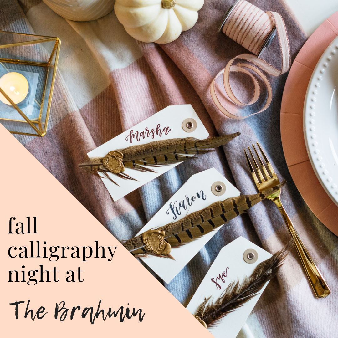 calligraphy workshop boston thanksgiving place cards