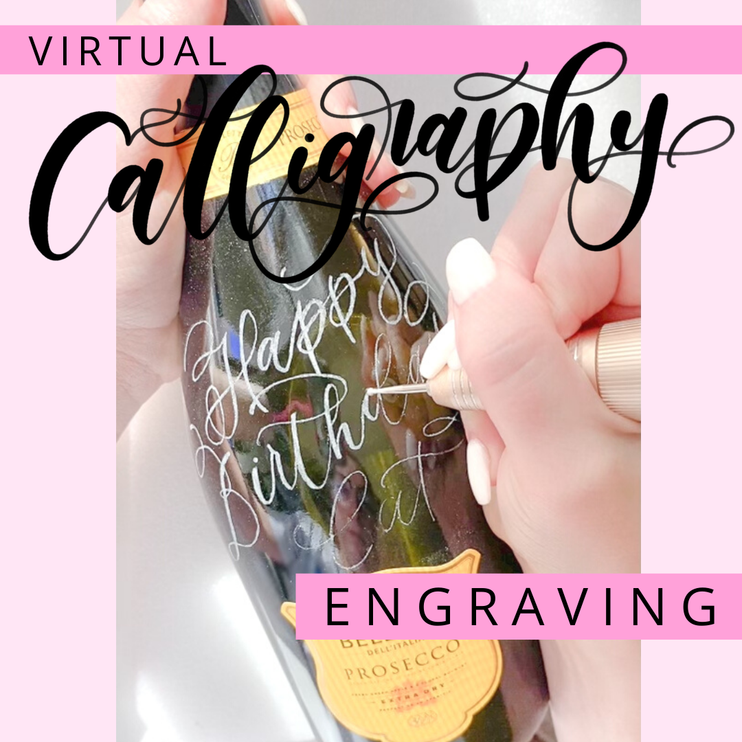 calligraphy engraving class on glass wine bottle