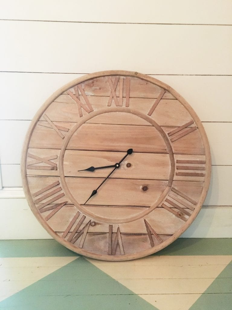 rustic magnolia market wooden clock on shiplap